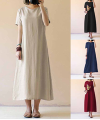 2019レディースファッション夏ガウン半袖ポケット固体特大緩いカジュアルロングドレス 5410