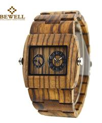 BEWELL メンズ腕時計クォーツ木製ダブルダイヤル時計ゼブラ腕時計メンズ腕時計