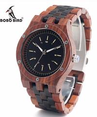 BOBO BIRD ユニークなダイヤルナチュラルレッドサンダルウッド木製腕時計メンズ腕時計