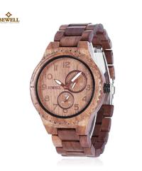 BEWELL 自動日付発光ヴィンテージアナログ腕時計メンズクォーツウッド腕時計