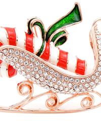 クリスマス2019  聖夜のキャンディケイン柄ソリ型ブローチ ドレスコートジュエリー  安全ピン ギフトにも!
