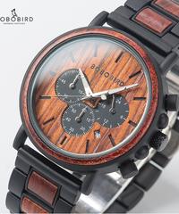 BOBO BIRD カスタムウッド&メタルデザインメンズウォッチクォーツ腕時計