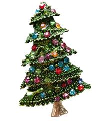 クリスマス2019  聖夜のクリスマスツリー型ブローチ ドレスコートジュエリー  安全ピン ギフトにも!