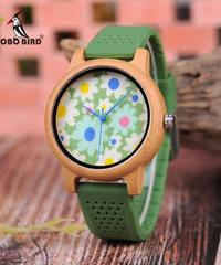 BOBO BIRD ユニセックス木製時計フラワープリントダイヤル竹クォーツ時計グリーンシリコンバンド腕時計