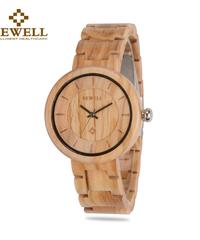 BEWELL 女性ウッド腕時計木材ブレスレットバンドクォーツムーブメントレディース時計