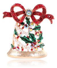 クリスマス2019  聖夜のジングルベル(オーナメント装飾)型ブローチ ドレスコートジュエリー  安全ピン ギフトにも!