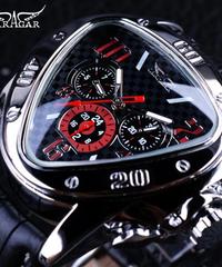 【全4色】 Jaragarスポーツレーシングデザイン幾何学的三角形デザイン本革ストラップメンズ腕時計トップブランドの高級自動腕時計