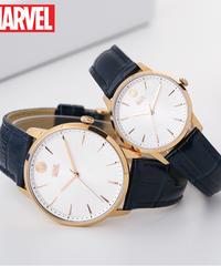 ディズニー公式 マーベルシリーズ腕時計 海外限定版 アベンジャーズキャプテン・アメリカクォーツ防水時計レザーストラップ