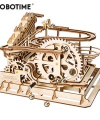 ROBOTIME コースター 木製プラモデル 接着剤不要 鉄球付き 3Dパズル Diy歯車式コースター 知育玩具 大人新趣味 ギフト クリスマスプレゼント
