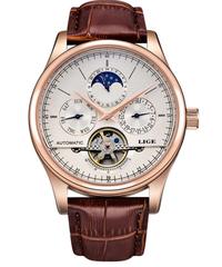 【全4色】 LIGEブランド男性腕時計自動機械式時計トゥールビヨンスポーツ時計革カジュアルビジネスレトロ腕時計