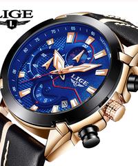 【全5色】 LIGEスポーツクロノグラフメンズ腕時計トップブランドの高級レザー防水日付クォーツ時計