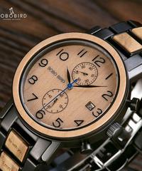 BOBO BIRD ウッドウォッチメンズクロノグラフウォッチミリタリーラグジュアリーブランドクォーツ腕時計