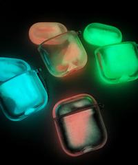 【全4色】 AirPodsケースカバー 充電ケースカバー グリッターケース蓄光保護カバーストラップチェーン付き AirPods第1/2世代専用 グリッターパウダー 発光ケース