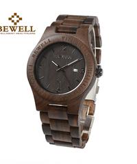 BEWELL メンズ腕時計クォーツ時計天然木ストラップクラシックファッションカジュアルライトスタイル