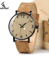 BOBO BIRD メンズレディース腕時計コルクストラップグレインダイヤルステンレススチールケースクォーツクロック