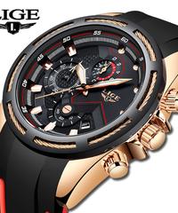 LIGEメンズ腕時計トップ高級ブランドユニークなスポーツ時計用男性男性クォーツ腕時計防水腕時計