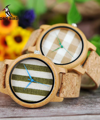 BOBO BIRD ヴィンテージラウンドレディバンブーウッドクォーツ時計ファブリックダイヤル女性時計