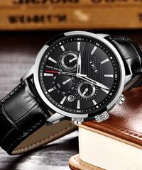 【全5色】 LIGEメンズ腕時計トップブランドの高級レザークォーツ時計男性ミリタリースポーツ防水時計