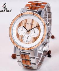 BOBO BIRD 高級ステンレススチール木製時計男性クロノグラフ日付表示クォーツ腕時計
