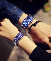 TOMORO 韓国スタイル男性女性デジタル腕時計クリエイティブLEDライト電子男性女性時計ファッションカジュアルブレスレットウォッチ