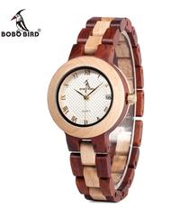 BOBO BIRD 女性腕時計日本ムーブメント腕時計木製バンドクォーツウッド腕時計