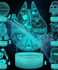 スターウォーズ 3Dナイトライトクリエイティブ3Dイリュージョン3Dビジュアルランプ 🌝ライトサイド🌝