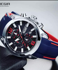 【全3色】 Megirメンズクロノグラフアナログクォーツ時計日付、発光針、防水シリコーンラバーストラップ腕時計