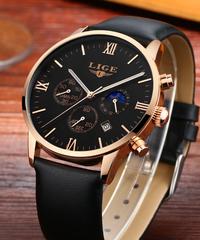 【全5色】 LIGEムーンフェイズオールスチールウォッチメンズビジネスファッションクォーツ時計