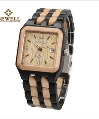 BEWELL スクエアクォーツ木製時計ウッドブランド腕時計メンズカジュアル男性腕時計