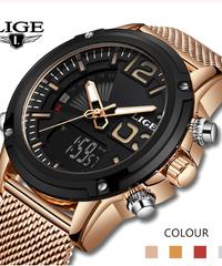 【全5色】 LIGE2019ステンレス鋼スポーツ男性腕時計軍事デュアルディスプレイ防水腕時計