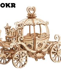 ROKR シンデレラ カボチャの馬車 魔法の乗り物 木製プラモデル 乗り物 接着剤不要 3Dパズル Diyカボチャの馬車 知育玩具 大人新趣味 ギフト クリスマスプレゼント