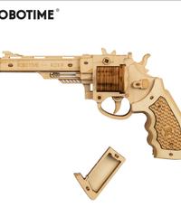 ROBOTIME 拳銃 リボルバー銃 銃 木製プラモデル 武器 接着剤不要 3Dパズル Diyリボルバー 知育玩具 大人新趣味 ギフト クリスマスプレゼント