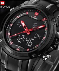 【全6色】 NAVIFORCEメンズクォーツ時計アナログLEDスポーツ時計メンズアーミーミリタリー腕時計