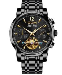 【全8色】 DOM 機械式時計 自動レトロの腕時計男性防水ブラックフルスチールの時計時計モントレオム