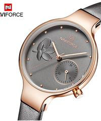 【全6色】 NAVIFORCE女性腕時計トップ高級ブランドレディースクォーツ時計本革時計バンドカジュアル腕時計
