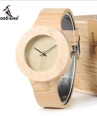 BOBO BIRD シリンダー竹木製腕時計メンズラウンドウッドデザイン日本2035ムーブメントpuストラップクォーツ時計