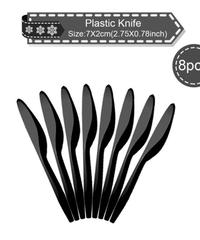 クリスマス2019 クリスマスデザイン パーティーナイフ 約7cm 8本入り 使い捨てナイフ パーティー食器 プラスチックナイフ