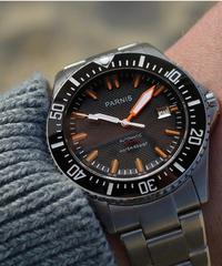【全2色】 Parnis自動水中時計防水200メートルメタルメカニカルメンズ腕時計サファイアガラスメカニカル腕時計