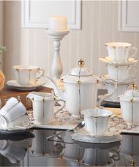 英国ゴールドパールボーンチャイナコーヒーセット英国磁器茶セットセラミックポットクリーマーシュガーボウルティータイムティーポットコーヒー フルセット