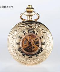 高級バンドファッションゴールドアナログスチームパンク機械式懐中時計ローマダイヤルFOBチェーンメンズ懐中時計ゴールデンホロウメカニカルポケットウォッチ