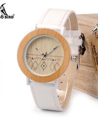 BOBO BIRD 女性天然木時計本革ストラップレディース腕時計