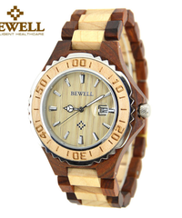 BEWELL メンズナチュラルウッド腕時計自動日付機能付きファッションカジュアルデザイン時計モデル白檀メンズ腕時計