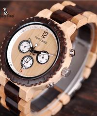 BOBO BIRD 木製腕時計メンズクロノグラフミリタリークォーツ腕時計