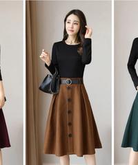 若者服ファッション女性秋のドレスニットセーター女性ガウン長袖偽2ピースファッション女性服 4491