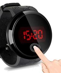 BLUELANS メンズファッション防水LEDラウンドタッチスクリーンシリコーン腕時計デジタル時計スポーツウォッチユニーク時計