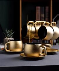 高品質ゴールドコーヒーカップセット曇りセラミックティーカップセットホームモダンマグカップエスプレッソコーヒー 6スプーン+6カップ&ソーサラーセット