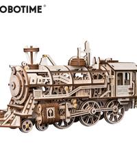 ROBOTIME 蒸気機関車 SL 木製プラモデル 乗り物 接着剤不要 3Dパズル Diy機関車 知育玩具 大人新趣味 ギフト クリスマスプレゼント