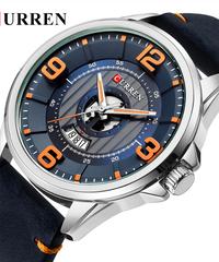 【全6色】 CURRENレザー腕時計アナログ軍ミリタリークォーツタイムマン防水時計