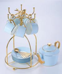 大理石の骨中国コーヒーセット霜降りの磁器のお茶セット高度なポットカップセラミックマグシュガーボウルクリーマーティーポット 1ポット+6カップ&ソーサラー+6スプーンセット