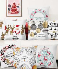 クリスマス2019 北欧デザイン  聖夜のウィンタースノウ色クッションカバー ブラッククッションカバー  クリスマス雑貨 クリスマスパーティー